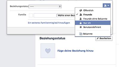 Screenshot FB Beziehungstatus einstellen.